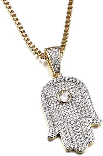 YOUZYHG co.,ltd Collar Collares de Mano Colgantes de Hielo Circulos Transparentes Circulos cúbicos Amuleto Cadena de joyería Fatima Hip Hop Hop 22 Pulgadas
