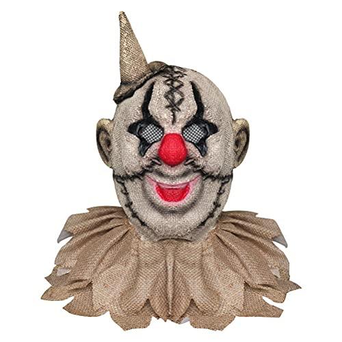 Gtytrxi Máscara facial de Halloween, Halloween Cosplay Props Terror payaso cubierta de lino para mascarada Pascua Joker Face Coverr