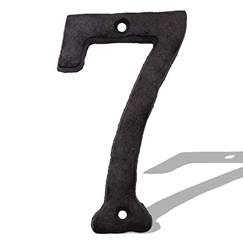 Cast Iron House Numbers-5.5 Inch Rustic Address Number- Solid & Heavy Duty/ Easy Install with Matching Screws Number 7
