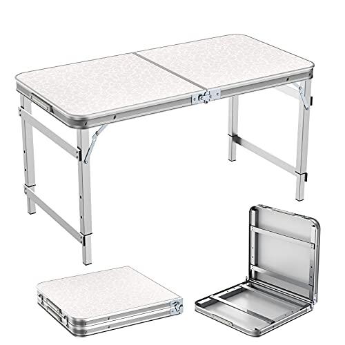 Sunflo Campingtisch Klapptisch 1,2m Tragbare Einstellbare Höhe Picknick Esstisch Barbecue Gartentisch Falttisch mit Koffergriff Drinnen und Draußen