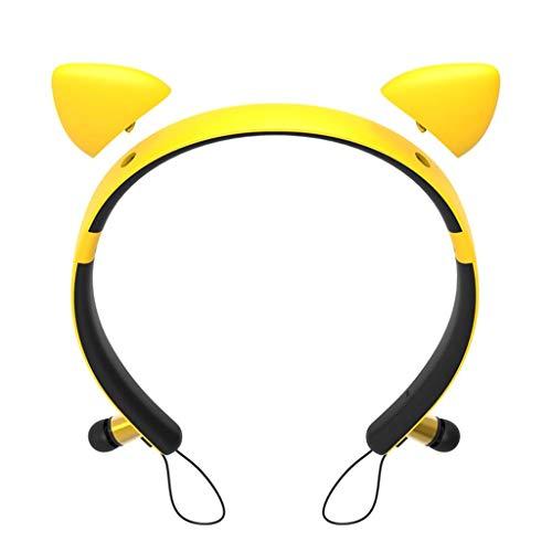 P Prettyia Wireless Bluetooth Headphones, Cute Ear Yellow HiFi Stereo Earphones