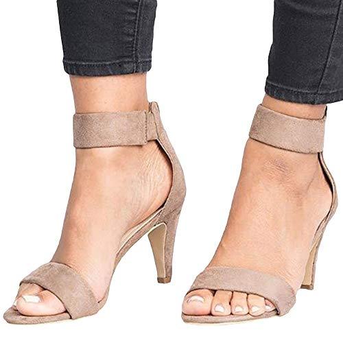 Sandalias para Mujer, Verano Punta Abierta Tacón De Aguja Correa para El Tobillo Bac-k Zi-p Sandalias De Talla Grande Zapatos De Mujer CaquiNone 35