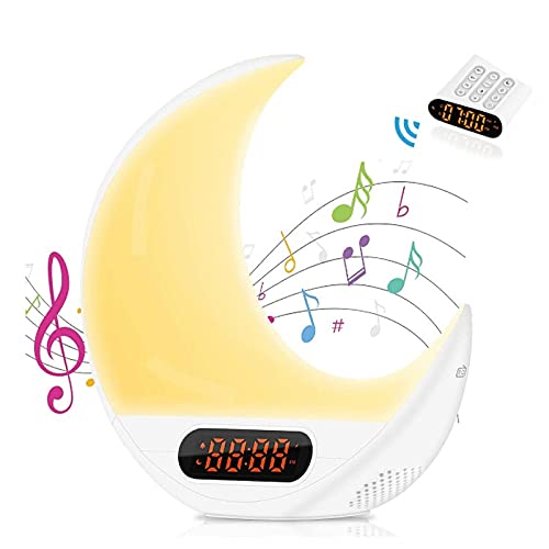 Duvets Wake Up Light LED Despertador,Despertador Luz,Lámpara Despertador,para Control Remoto De Luna Reloj Despertador,con 2 Alarmas, para Niños con Radio FM,función De Control Táctil
