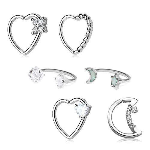 Longita Daith Rook Snug Tragus Piercing Earrings Stainless Steel 16G Heart Moon Shaped Horseshoe Rings Ear Cartilage Ring Body Piercing Jewelry 6PCS-Silver