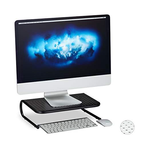 Relaxdays Monitorständer, für Schreibtisch, freistehend, Monitorerhöhung, Metall, HxBxT: 10,5 x 36,5 x 28,5 cm, schwarz, 1 Stück