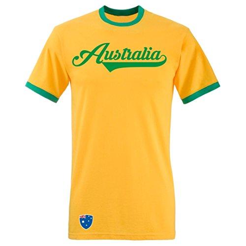 Australien - T-Shirt Ringer Retro TS WM EM Trikot Look, Gelb, L