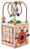 Mopoq De grano redondo de la caja del tesoro Juguetes for niños grandes de 1-3 años Puzzles de madera Beaded multifunción tetraédrica de regalos, juguetes educativos for niños 15x15x32cm