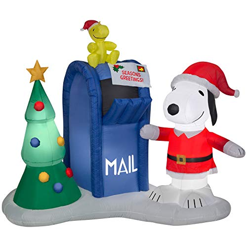 Gemmy 6.5' Airblown Snoopy and Woodstock w/Mailbox Scene Peanuts Christmas Inflatable
