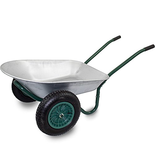 BITUXX® Stabile 2-Rad Bau Schubkarre Baukarre Zweiradkarre Gartenkarre Schubkarren Muldenkarre Verzinkt 100L / Traglast bis 150kg / Luftbereifung