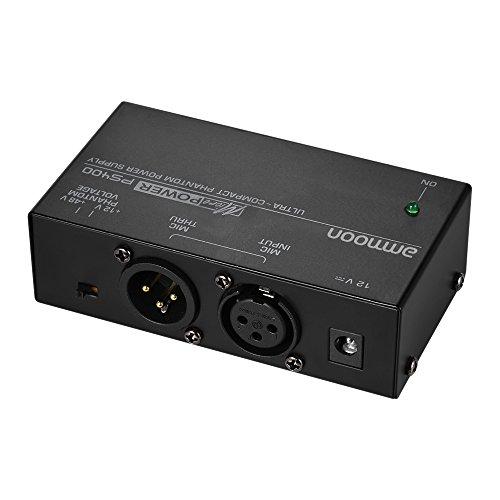 ammoon Alimentazione Phantom + 12 V + 48 V a scelta con adattatore hochkom Patto microfono a condensatore Nero