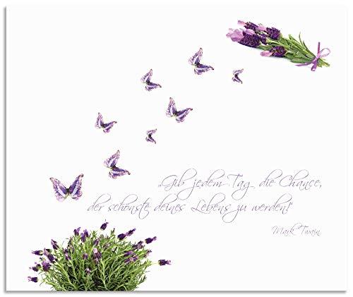 Artland Spritzschutz Küche aus Alu für Herd Spüle 60x50 cm Küchenrückwand mit Motiv Spruch Schmetterlinge Lavendel Landhaus Hell Weiß Lila J6DH