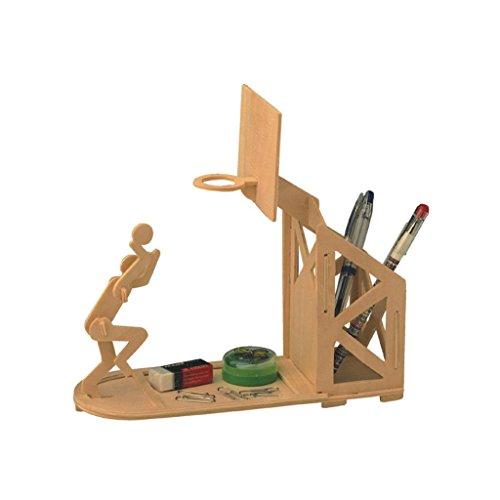 Generic Kinder DIY Modell-Bausatz Aus Holz Puzzles Spielzeug Pädagogisches Spielzeug - Basketball-Federbehälter, 21x17x0.3cm
