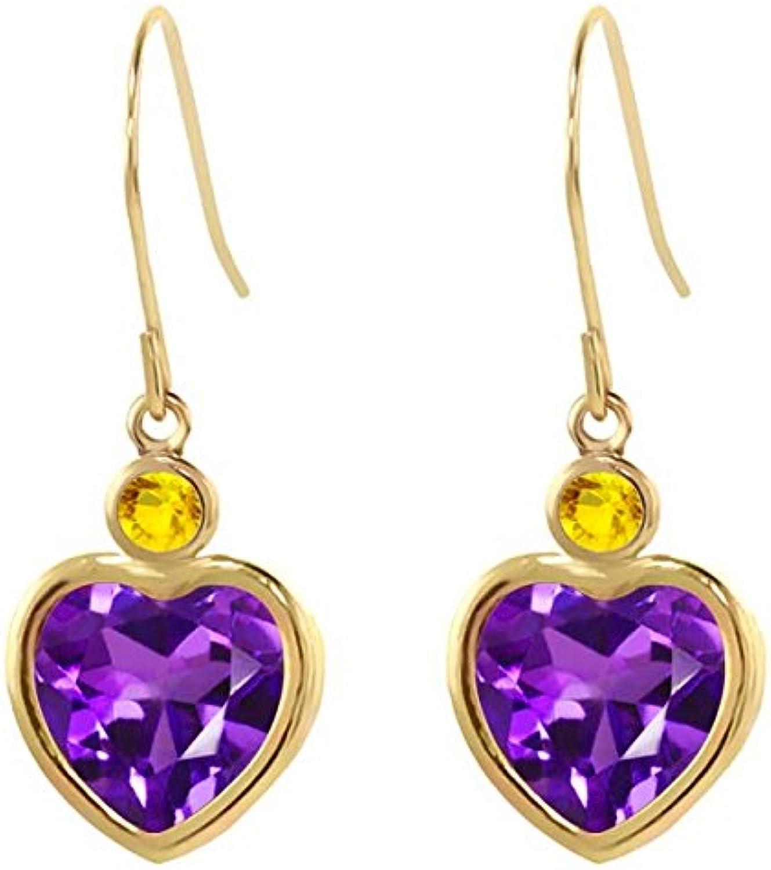 3.46 Ct Heart Shape Purple Amethyst Yellow Sapphire 14K Yellow gold Earrings