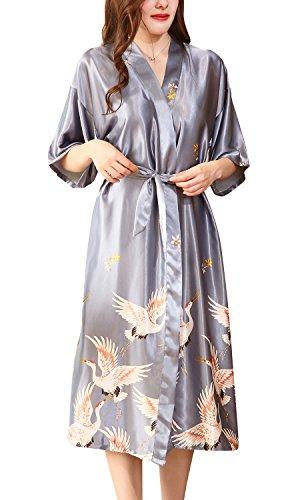Dolamen Mujer Vestido Kimono Satén, Camisón para Mujer, Grua & Flores Robe Albornoz Dama de Honor Ropa de Dormir Pijama, Estilo Largo & 2018 (XX-Large, Plata)