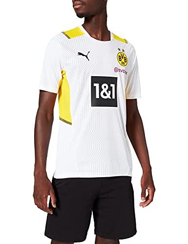 Puma Borussia Dortmund Temporada 2021/22 Calentamiento, Camiseta, Hombre, White-Cyber Yellow, XXL