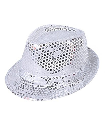 AK TRADING CO. Fashionable Unisex Sequined Fedora Hat - Silver