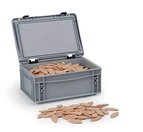 Flachdübel Größe 0 von WFix | 500 Stück | Dübel in Aufbewahrungsbox | Kompatibel mit Dübelfräse & Lamellofräse | Holzdübel wie Lamello 0