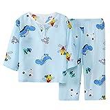 DEBAIJIA Niños Pijama 0-12T Bebé Ropa de Dormir Infantil Homewear Niña Ropa Casual Niño Animado Lindo Algodón Conjuntos (Ligero Azul-100