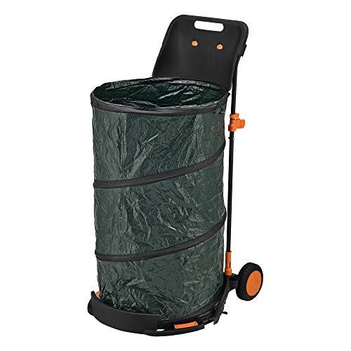 casa.pro Laubsammler faltbar Gartentrolley bis 15 kg klappbar Laubsack 160 L Gartenkarre Gartensack Laubwagen