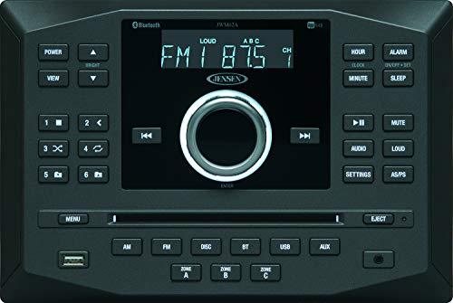 Jensen JWM62A AM|FM|DVD|CD|USB|AUX|App Ready Bluetooth Wallmount Stereo w/ App Control, 3-Speaker Zones / 8 Speaker Output 8X 6 Watt, Receives Bluetooth Audio (A2DP) & Controls (AVRCP) from Devices