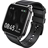 RTAKO Smart Watch Compatible with iPhone Android Phones , Fitness Tracker Watch with Heart Rate Monitor Blood Oxygen Meter, IP68 Swimming Waterproof Smartwatch for Women Men Black