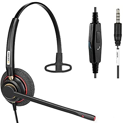 Mobile Phone Headset with Pro Noise Canceling Mic and Call Controls Wired 3.5mm Comfortable Phone Headset for iPhone, Samsung, Computer Business Skype Softphone Call Center Office (800MP) by Arama