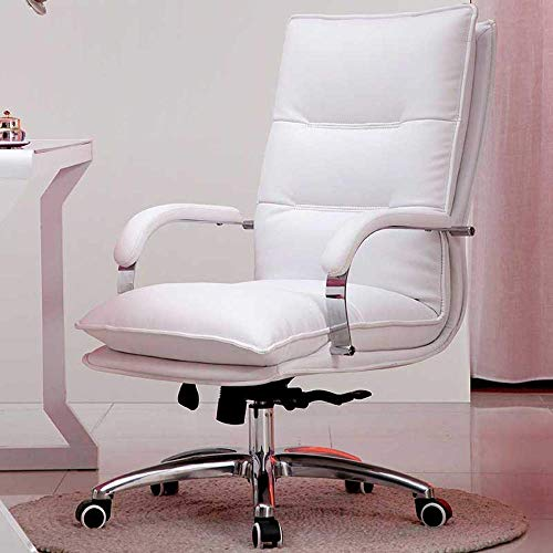 N/Z Life Equipment Swivel Chair Faux Leather Home 135 deg; Reclining Business Back Computer Lift Swivel Chair 6 Colors Optional 360 Degree Rotating Chair (Color : White)