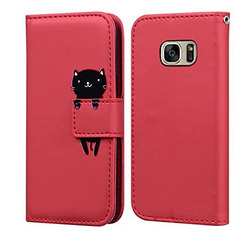 LUCASI Coque Samsung Galaxy S7,Housse en Cuir 3D Lapin Dessin Animé,Portefeuille Etui en Protecion pour Galaxy S7, Rouge