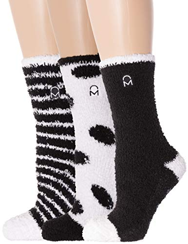 Noble Mount Women's (3 Pairs) Soft Anti-Skid Fuzzy Winter Crew Socks,Set C15 [Gift Packaged],Fit sizes 9-11