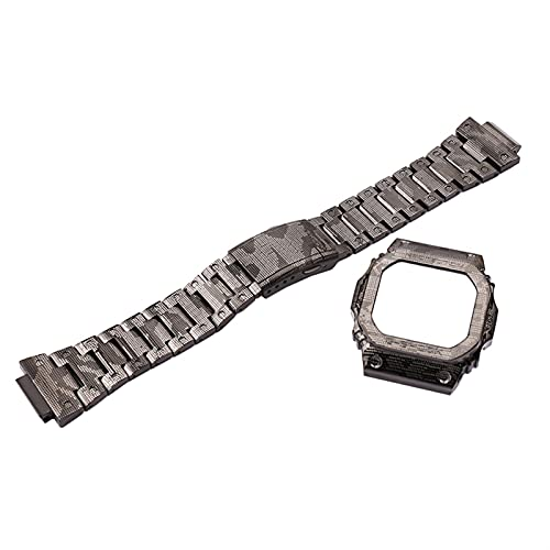 ZLRFCOK Correa de camuflaje de acero inoxidable 316 para hombre DW5600 Series GW5000 5610, accesorios de pulsera para Casio G-SHOCK Lady (color de la correa: caja de correa, ancho de la correa: 5610)