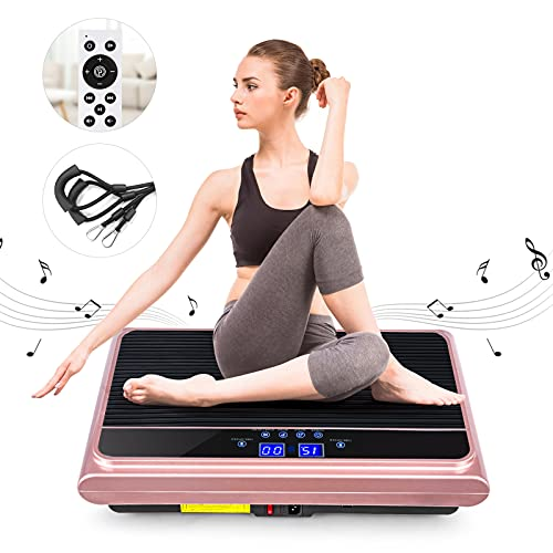 Natini Vibration Platform Machine, Whole Body Vibration Plate Exercise Machine with Loop Resistance Bands for Home Fitness Training Equipment & Weight Loss Rose Pink