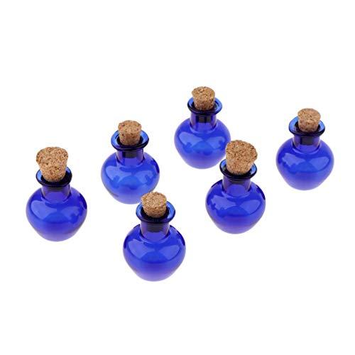 Prettyia Frascos Vacíos De Mini Frascos De Mensajes Coloridos De 6 Piezas Con Tapón De Corcho Deseando Botellas - Azul