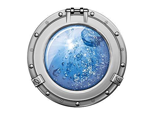 GRAZDesign Wandtattoo Unterwasser, Baddekoration Bullauge, Wandbild Badezimmer Boot / 30x30cm