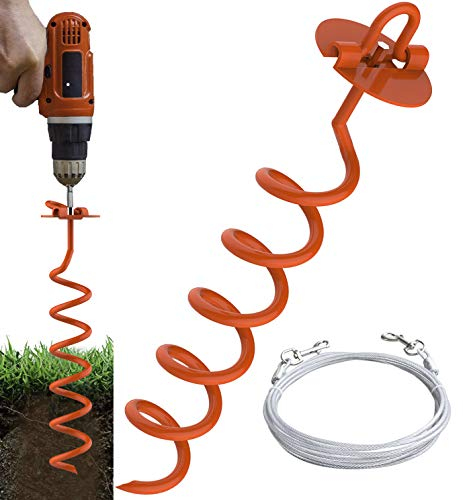 Eurmax 16inch Up to 500lbs Spiral Dog Tie Out Ground Spiral Anchor Stake Ideal for All Kinds of Pets.