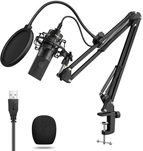 USB Kondensator Mikrofon für Studio-Aufnahmen inkl. Jeyxilro Spinne Schall Podcast Studio Rundfunk & Aufnahme Microphone für Computer mit Popschutz und Verstellbarem Mikrofonhalter Schwarz