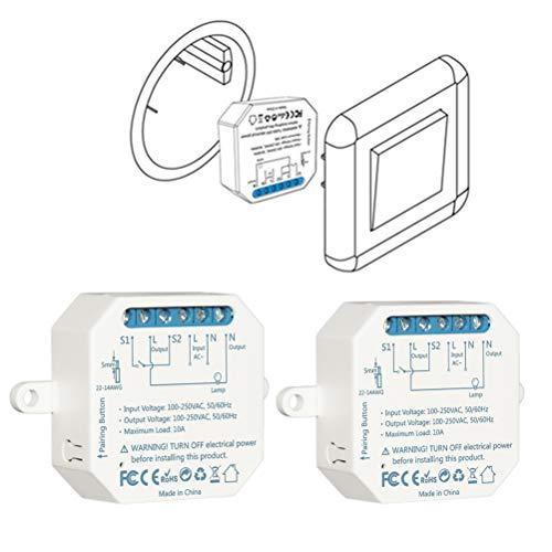 LoraTap 2er Pack Wifi Schalter Relais Modul 4.0 (vorhandener Schalter bleibt erhalten) Smart Home Switch Fernbedienung über Handy für Hausautomation DIY Auf-/Unterputz Kompatibel mit Google Home