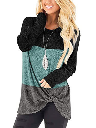 Womans Sweaters Top Twist Knot Fall Cute Sweatshirts Soft Black XL