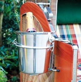 AMBIENTE-LEBENSART.DE Strandkorb-Sekt-Champagner-Wein-Kühler-Eiskübel mit Halterung massiv-elegant