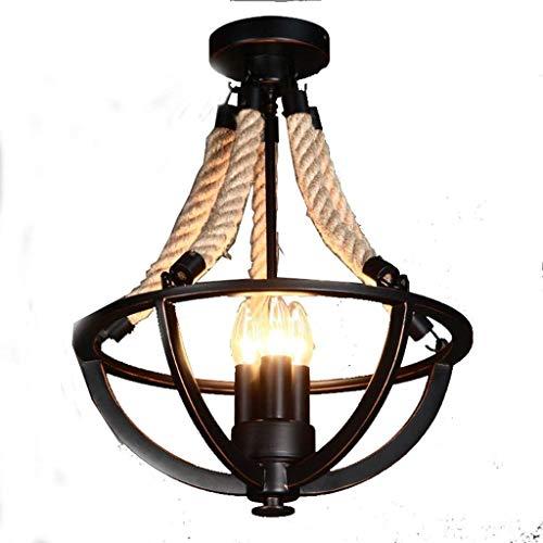 SPNEC American Country Antiguo Techo de la lámpara Simple, Creativa Personalizada LED Tejida Mano de la Guita lámpara del Techo, Sala de Estar, Dormitorio, lámpara de Techo