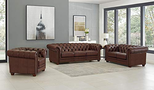 Hydeline Aliso 100% Leather Chesterfield Sofa, Loveseat and Chair Set, Brown