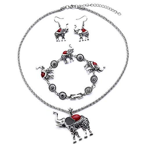 UBL PULABOCreative Collar Elefante Conjunto Retro Personalidad Turquesa Collar Pendientes Pulsera Joyería Rojo Excelente Calidad y Popular