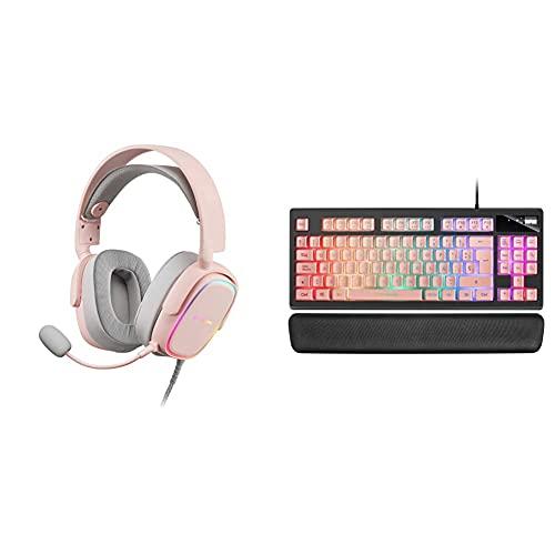 MARSGAMING Mhaxp Rosa Auriculares RGB Multiplataforma con Mic Extraíble, 53 Mm HiFi + Mkax Rosa, Teclado Gaming Tkl H-Mech, Reposamuñecas Gel, Layout ESP