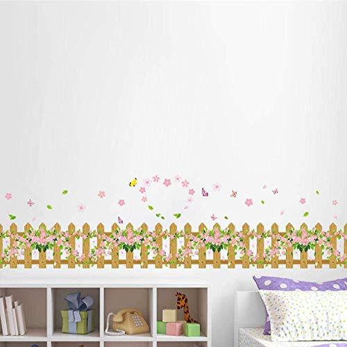 Wandaufkleber Wandbilder Tapete Poster Gartenzaun Herz Blume Schmetterling Wandaufkleber Aufkleber Fenster Glas Wohnzimmer Schlafzimmer Wohnkultur Kinderzimmer Dekor