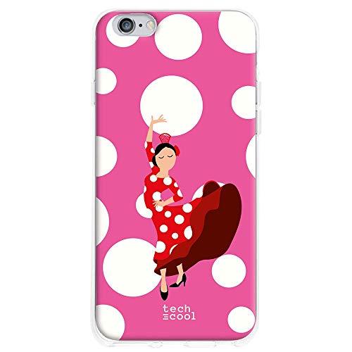 Funnytech Funda Silicona para iPhone 6 Plus / 6S Plus [Gel Silicona Flexible, Diseño Exclusivo] Flamenca Feria Lunares Blanco Fondo Rosa