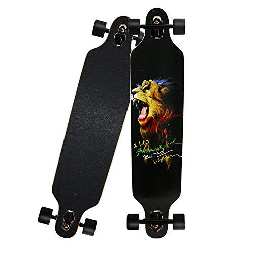 Longboard Skateboard Cruiser Complete Board, Ahorn Longboard Brush Street Dance Board für Anfänger Erwachsene Teenager.-C._41 Zoll