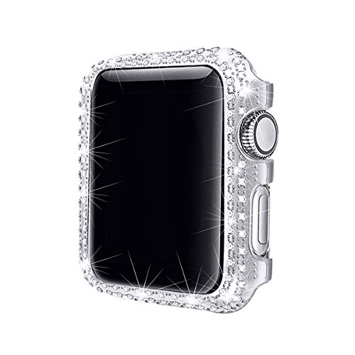 Secbolt 38mm Bling Case Compatible with Apple Watch Band, iWatch Series 3 2 1, Stainless Steel Metal Sparkling Crystal Diamond Cover Bezel Rhinestone Full Protective Frame, Silver