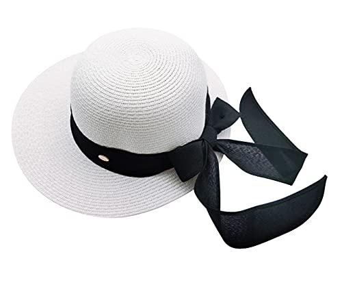 Carnavalife Sombrero de Paja de Playa para el Sol, Pamela Verano para Mujer UPF 50 de Ala Ancha Plegable (Blanco, 57cm)