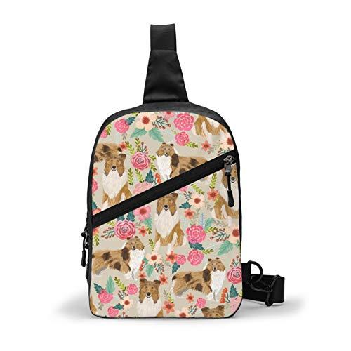 Rough Collie Florals Cute Collies Design Best Collie Dog Chest Package Multipurpose Crossbody Sling Backpack Outdoor Shoulder Bag Travel Hiking Daypack Men & Women Casual Sport Rucksack