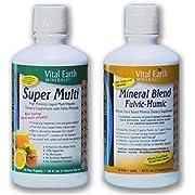 Super Multi Liquid Vitamin & Mineral Blend Fulvic-Humic BUNDLE by, Vital Earth Minerals | 32 Fl. Oz. - 1 Month Supply Each | High Potency - Sugar Free - Iron Free - Liquid - Vegetarian