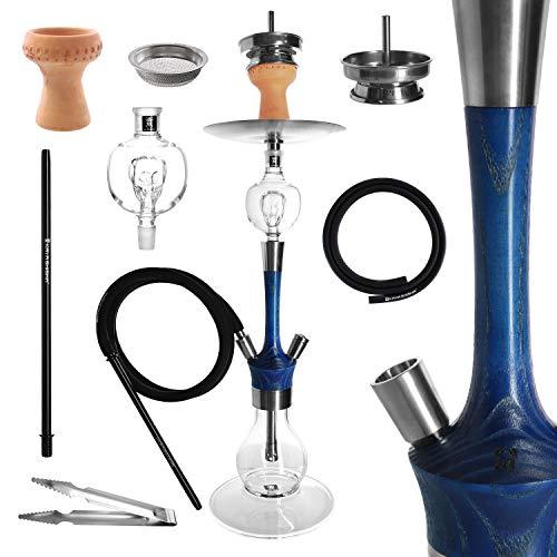 Kaya Madera - Juego de cachimba (73 cm de alto, madera y acero inoxidable, pipa de agua, 2 conexiones, atrapasueños y accesorios (Royal Blue)